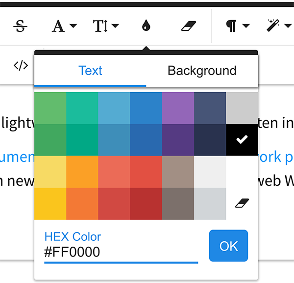 Froala WYSIWYG Editor HEX Color Input