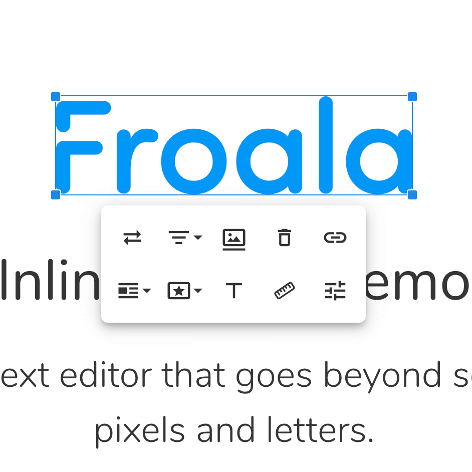 Froala logo highlighted in the header block with word editing tools underneath.