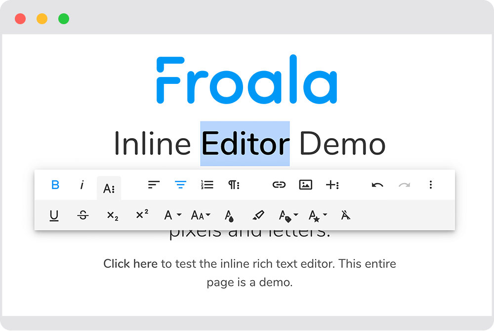 Browser displaying the Froala Inline Editor Demo snapshot with a word editor toolbar highlighting the word Editor.