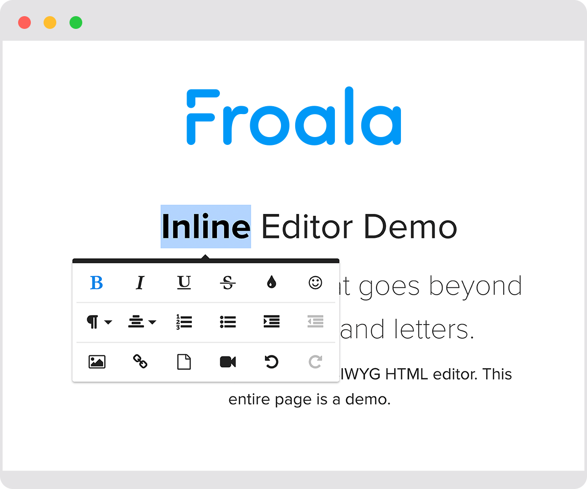 Browser with a text editor showing the Froala Inline Editor Demo page bolding the title.