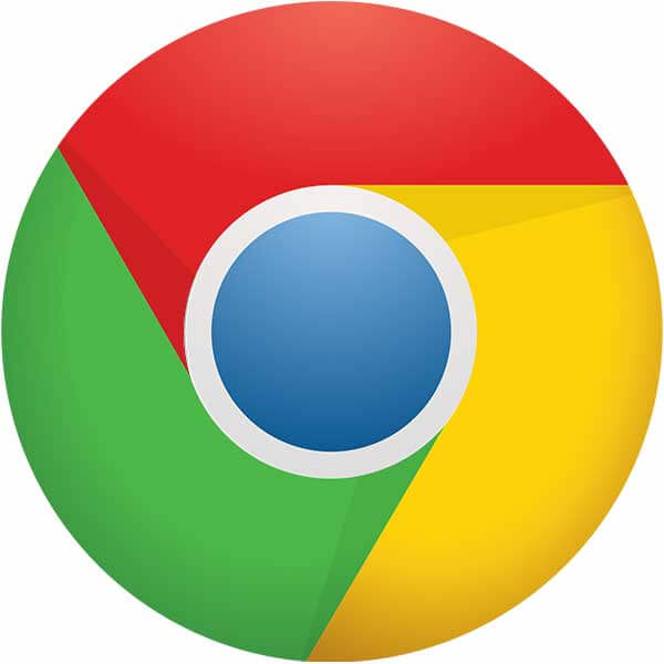 Google Chrome brand logo circle atop a large blank canvas without shades.