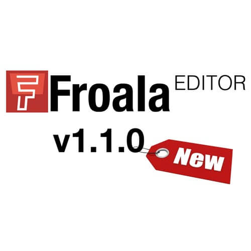 Froala Editor logo in red coloring and a pricing tag with the word new on it.