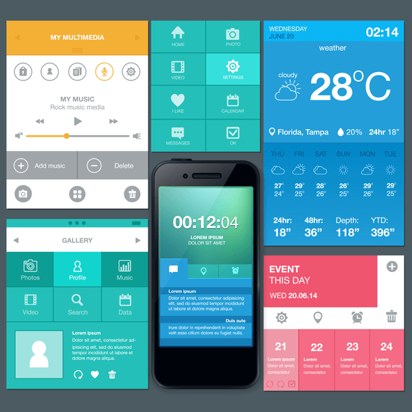 Collage of mobile applications in various colors and fonts surrounding a mobile phone.