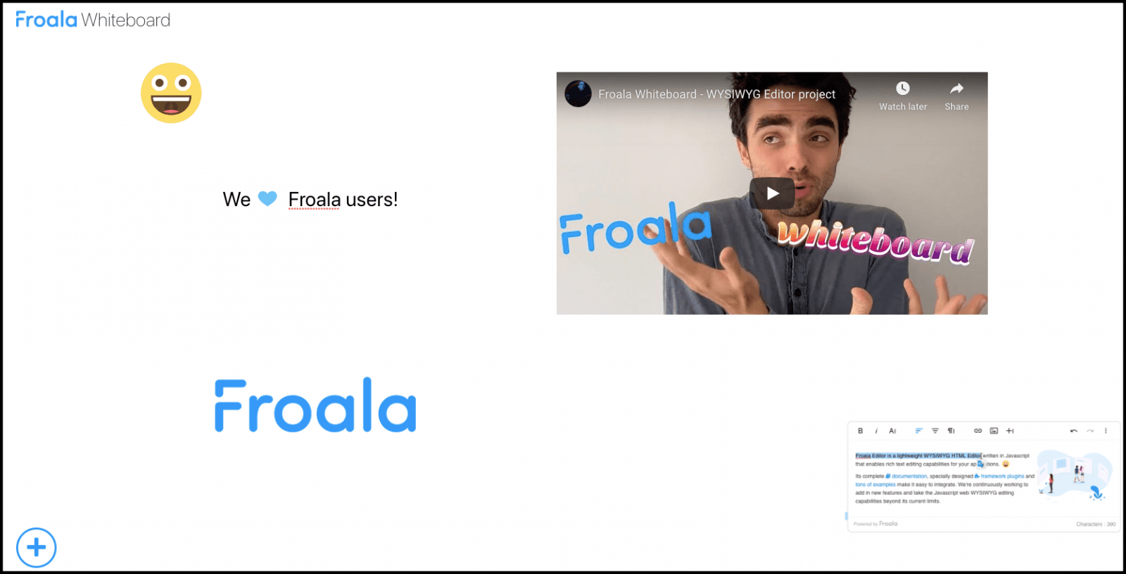 Experience the Whiteboard at https://froala.com/wysiwyg-editor/whiteboard/.