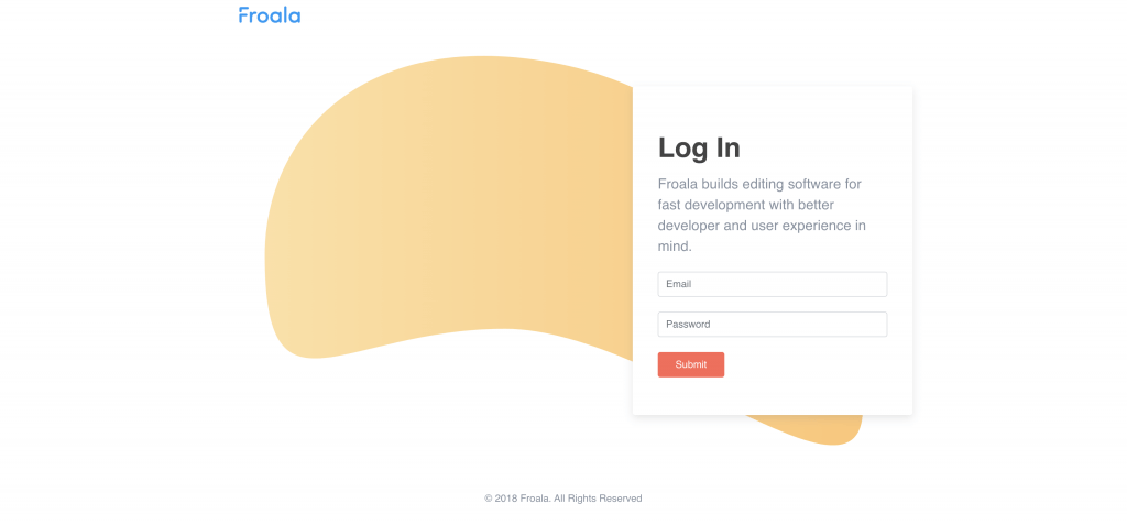 Login page built with Froala Design Blocks Builder