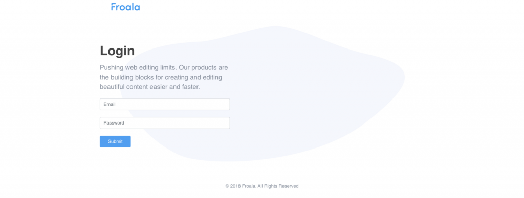 Left-aligned example login by Froala Design Blocks Builder