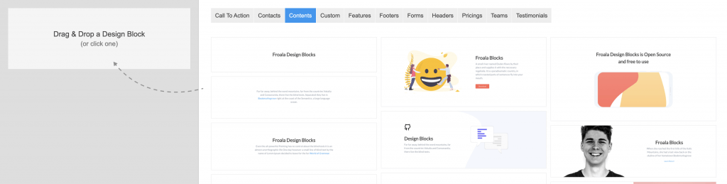 Froala's Design Blocks Builder tool