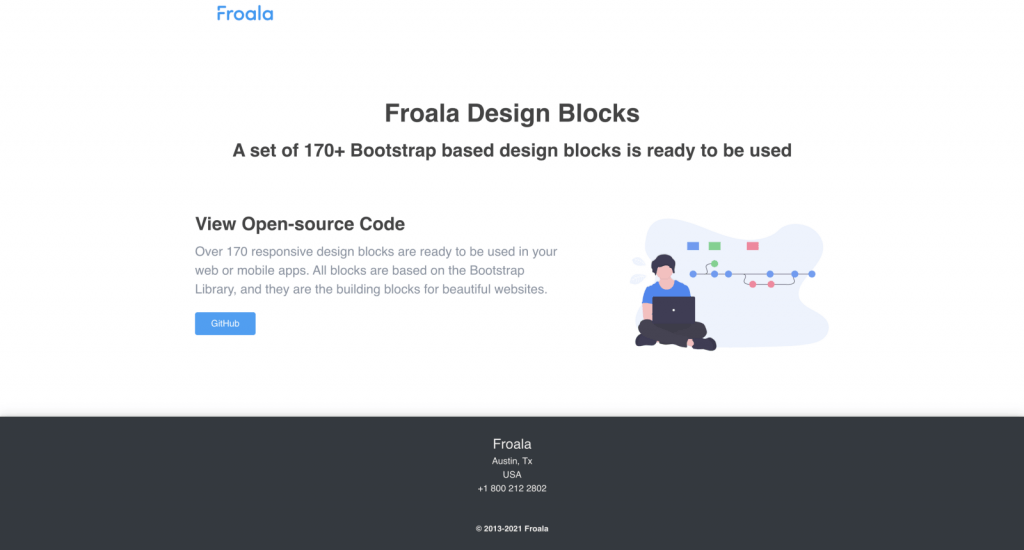 View Froala Design Blocks Open-source Code-Call to Action Page