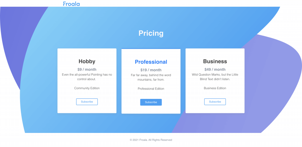 Froala Design Blocks Builder lets you create a theme-based pricing page.