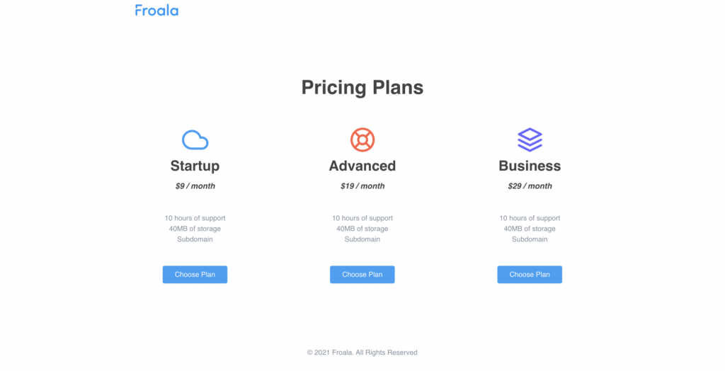 A simple pricing page made with Froala design blocks builder