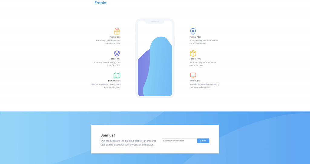 Subscription Page with Product Features