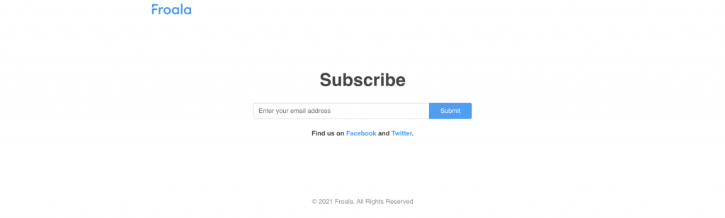 Subscribe Form with Social Media Links