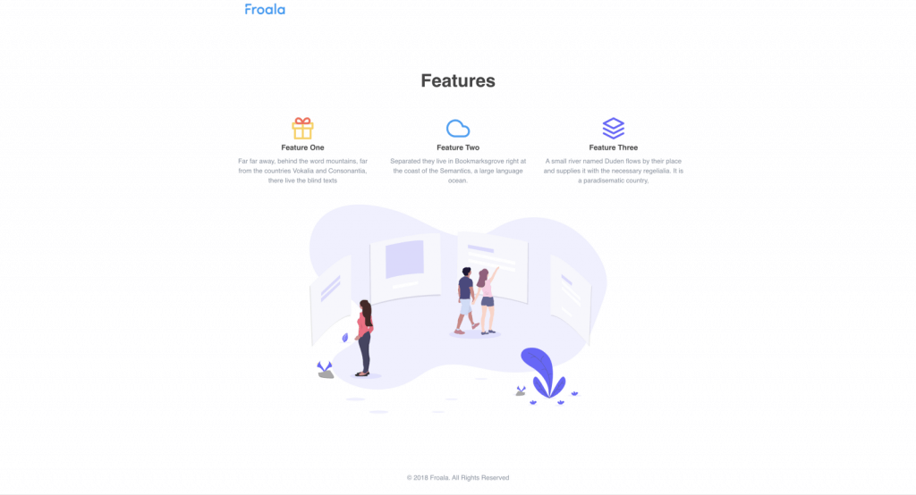 icon-based feature page