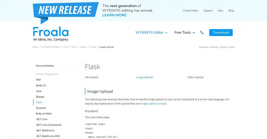 Uploading images in Froala Editor using Python Flask